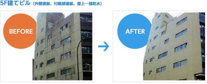 5階建ビルの外壁塗装、付随部塗装、屋上防水工事の施工例
