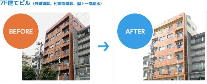 7階建ビルの外壁塗装、付随部塗装、屋上防水工事の施工例