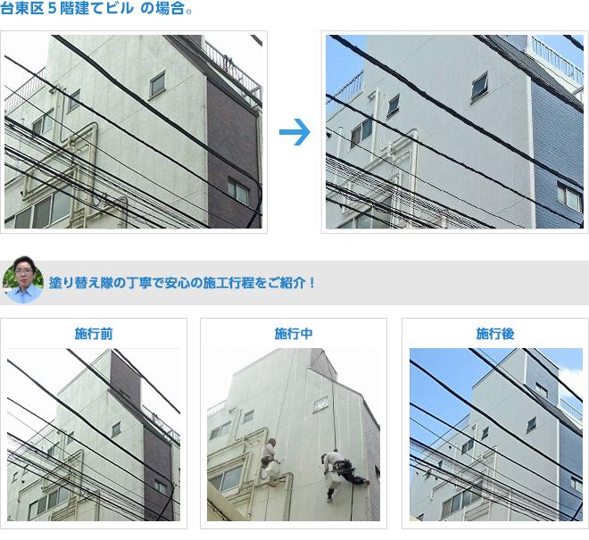 台東区で5階建ビルの外壁塗装施工例